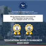 HPSR has been ranked 3rd best in Telangana and 12 th best school in India