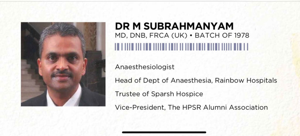 Dr. Subramanyam built Hospice for palliative care to terminally ill patients